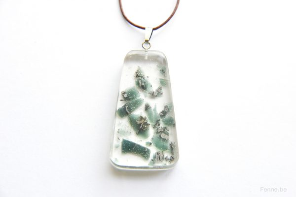 one of a kind slag stone resin pendant, www.Fenne.be