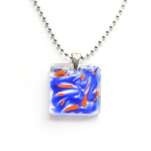 Fire blue (square) resin jewelry, www.Fenne.be